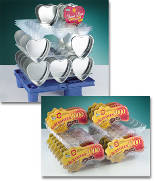 Transparent sales trays for the food industry